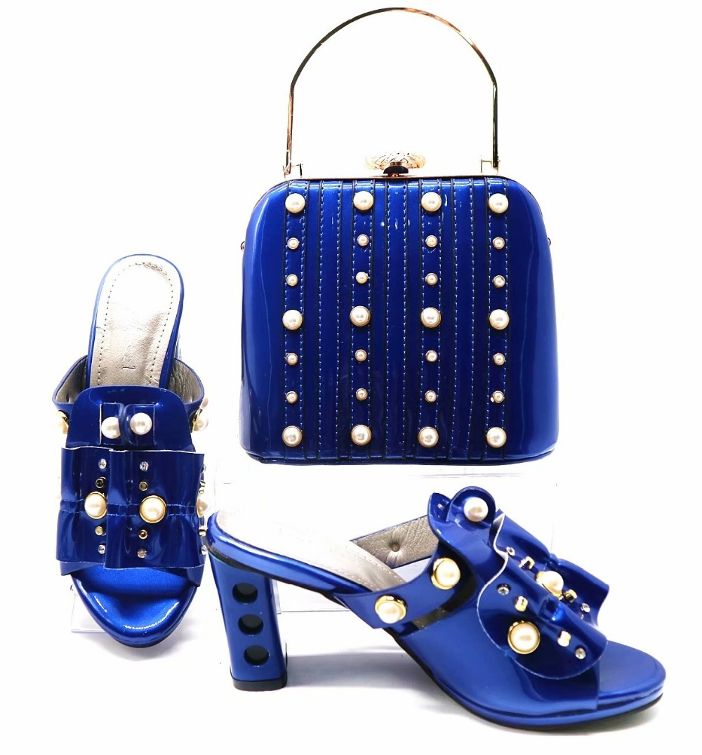 2961900428e2 Size 38 - 42 2018 fashion royal blue italian shoes and bag fashion slippers shoes  clutches