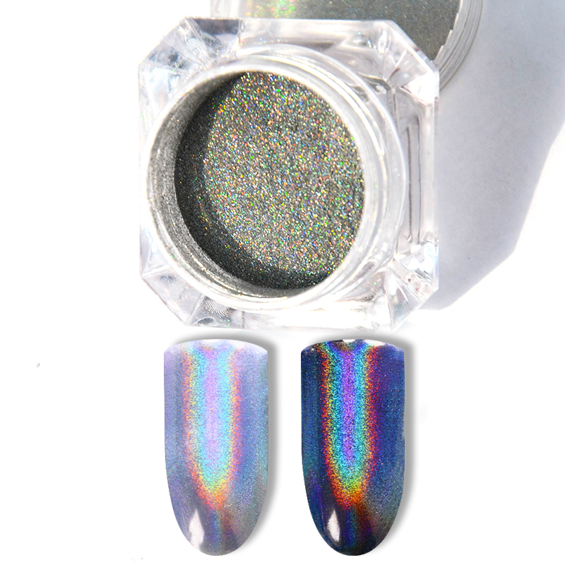 Extra Fine Holographic Chrome Nail Art Powder: Aliexpress.com : Buy 1 Box Holographic Laser Dust Holo