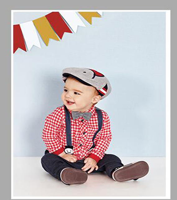 2017 new 3 pieces fall boys clothing sets gentleman set baby boy clothes  plaid shirt and suspender trousers Gen