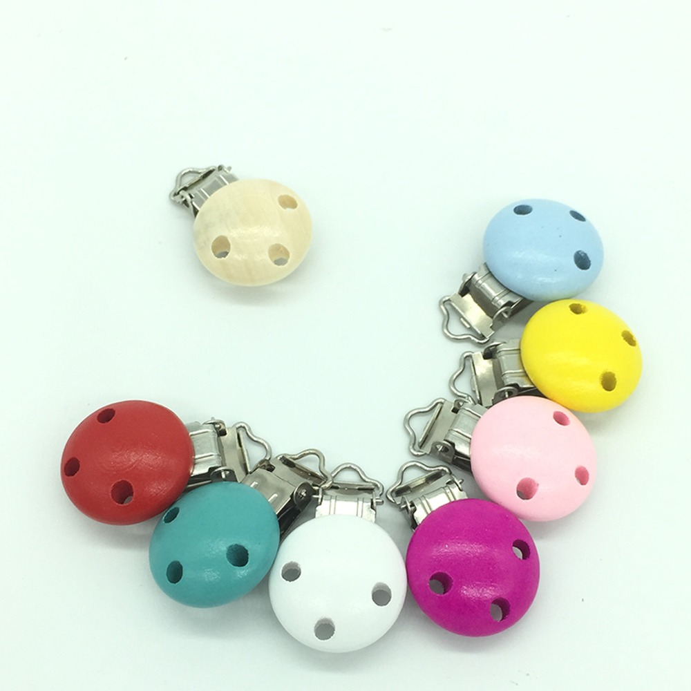5Pcs Cute Wooden Soother Holders Baby Pacifier Clips Nipple Clasps For Infant
