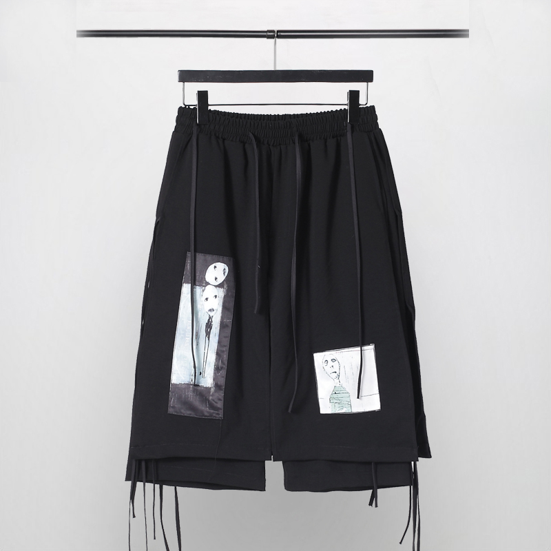 Owen Seak Men Casual Short Cotton Harem Gothic Style Men's Clothing Sweatpants Summer Loose Black Short Size XL