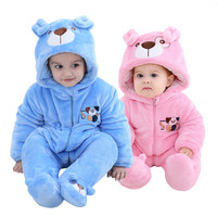 0 3 Years Old Infants New Baby Boy Rompers Baby Girl Winter Thick Flannel Two Color Pet Dog Cotton Clothes Children's Clothing