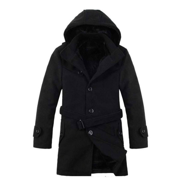 2016 Men Thick Warm Winter Trench Coats Long Section Turn Down Collar Single breasted Solid Fashion Fleece Jacket Overcoat XXXL