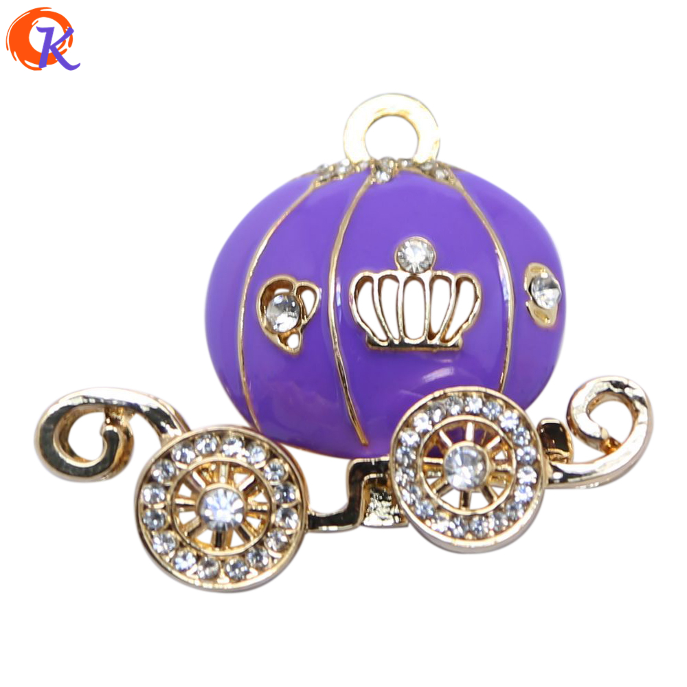 Fashion Jewelry 10Pcs/Lot Kids Alloy Pendant Chunky Purple Pumpkin Carriage Pendant Hallowmas Jewelry For Girl CDRP-503708