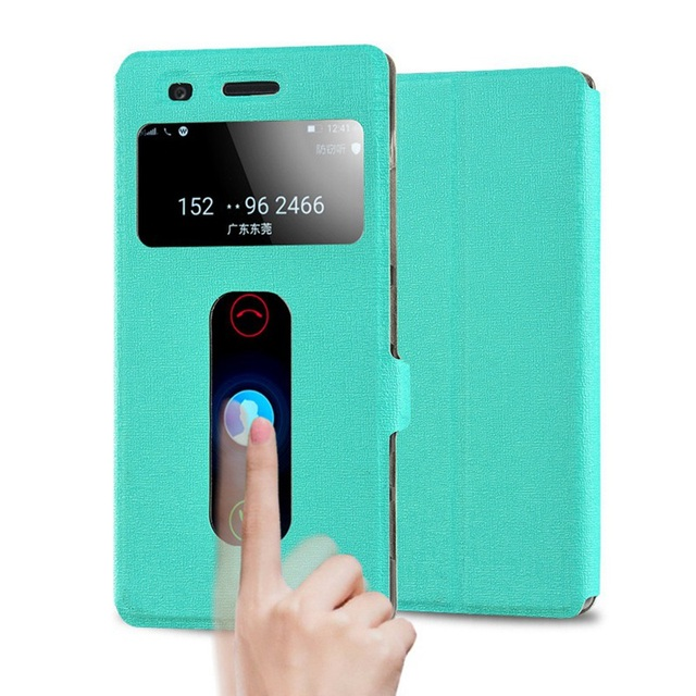For Lenovo Z90 Z90A40 Handy Cases Quick Answer View Leather Flip Cover For Fundas Lenovo Z90-7 Vibe Shot Phone Case Black nh307