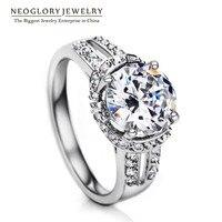 Neoglory Cubic Zirconia Engegement Charm Wedding Rings for Women Jewelry 2017 RI1 QC Wedj Wedj-r