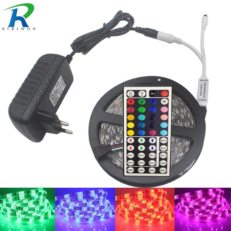 SMD 5050 RGB Led-streifen Wasserdichte 4 Mt 5 Mt 8 Mt 10 Mt 30Led licht Flexible DC12V Führte Band RGB Diode Band Mit Fernbedienung Adapter Kit