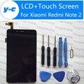 Nuevo lcd display + touch digitalizador de pantalla para xiaomi redmi note 2 el panel de cristal para xiaomi redmi note 2 prime 1920x1080 5.5 pulgadas