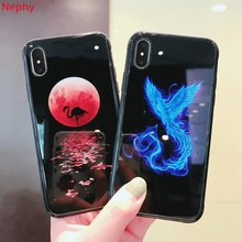 แฟชั่นซิลิโคน + แก้ว Luminous glow in the dark สำหรับ iPhone XS Max X XR 6 s 7 iPhone 8 7 Plus 8 Plus Tiger Deer Phoenix(China)