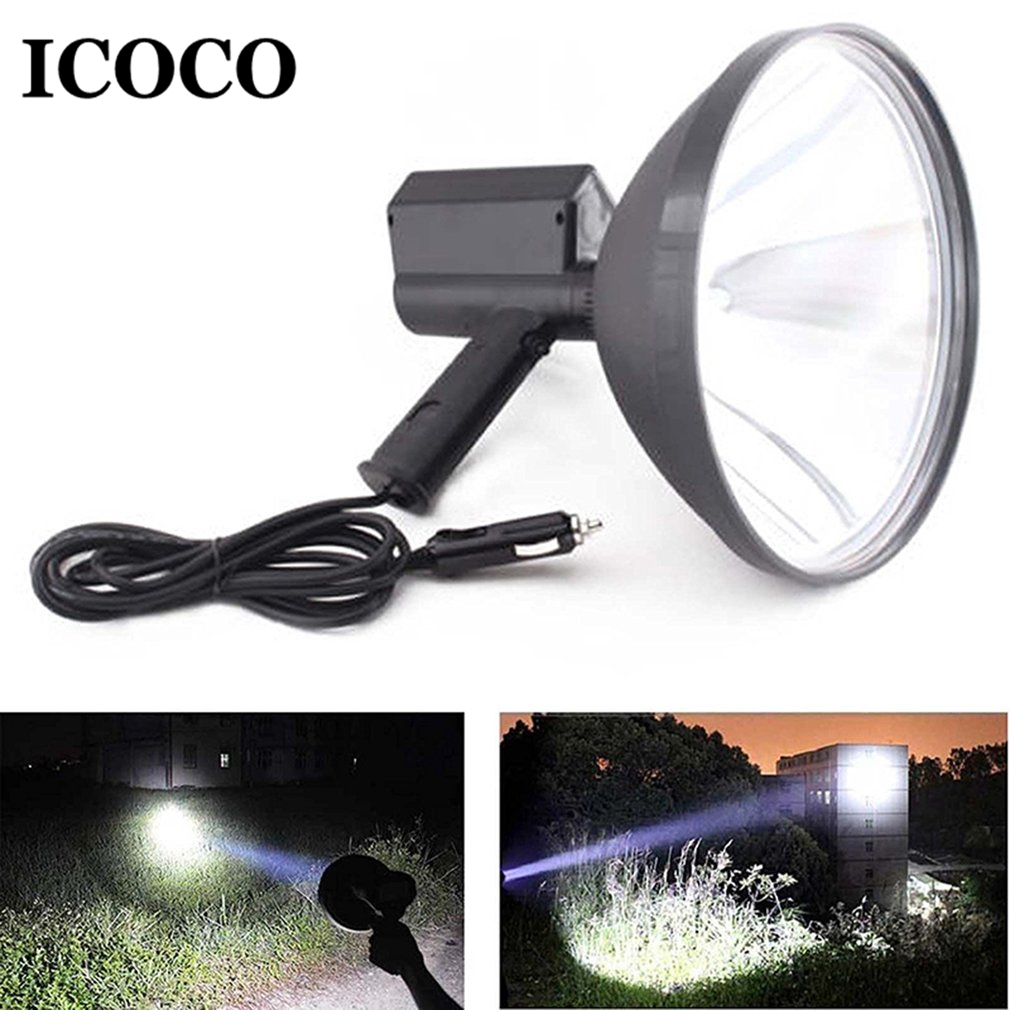 ICOCO 9 inch Portable Handheld HID Xenon Lamp 1000W 245mm Outdoor Camping Hunting Fishing Spot Light Spotlight Brightness Sale 10 75w 240mm hid xenon handheld portable driving search spotlight hunting fishing hiking camping emergency light 5500lm 9 32v