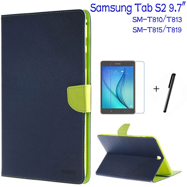 """Top Quality Smart PU Leather Cover for Samsung Galaxy Tab S2 9.7"""" T810 T813 T815 T819 Tablet Case+Free Screen Protector+Pen"""