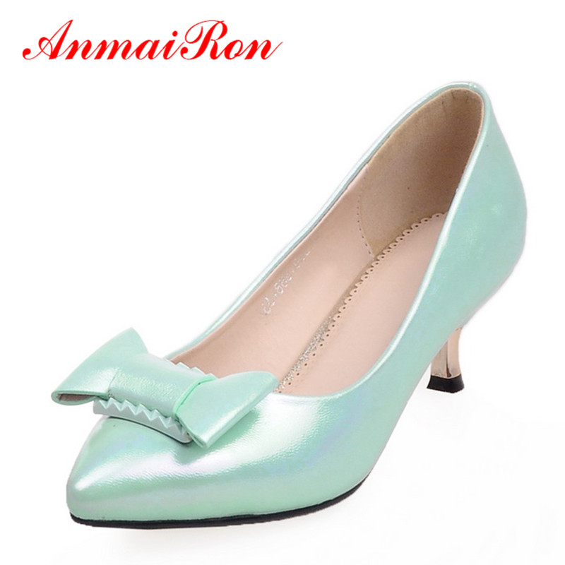 ANMAIRON Women Pointed Toe Cute Bowtie Shoes Pumps Low Heels Ladies Shoes Woman Kitten Heel Pumps Pink Green White Shoes spring summer women leather flat shoes 2017 sweet bowtie flats women shoes pointed toe slip on ladies shoes low heel shoes pink