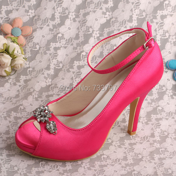 Wedopus MW348 Women Ankle Strap Fuchsia Satin Wedding Party Shoes Peep Toes