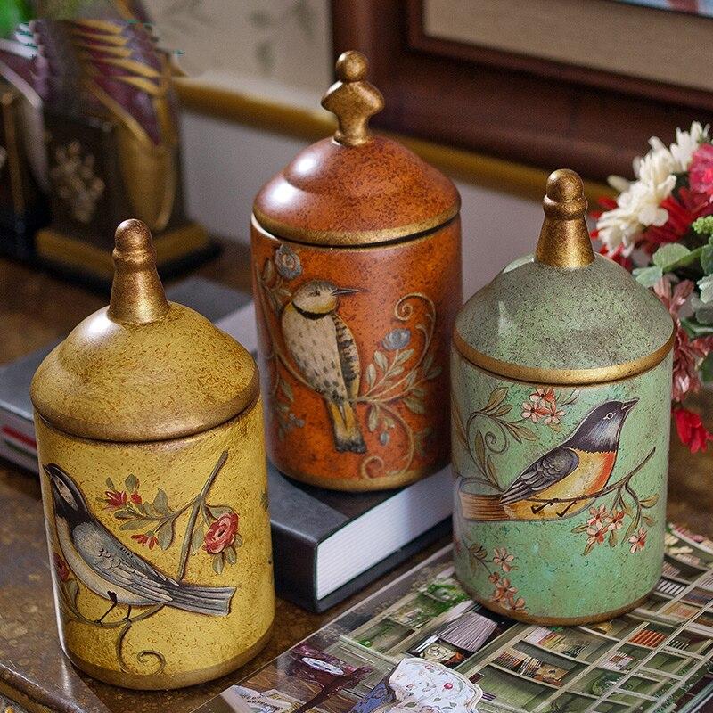 Pot en céramique rétro créatif pots raffinement Rural oiseau et fleur bouteilles de rangement en céramique faire l'ancien beau réservoir de stockage