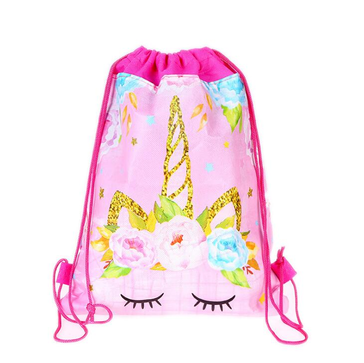 New 2019 Women Unicorn Drawstring Bag Travel Storage Package Cartoon School Backpack Nylon Birthday Party For Teenage Girls