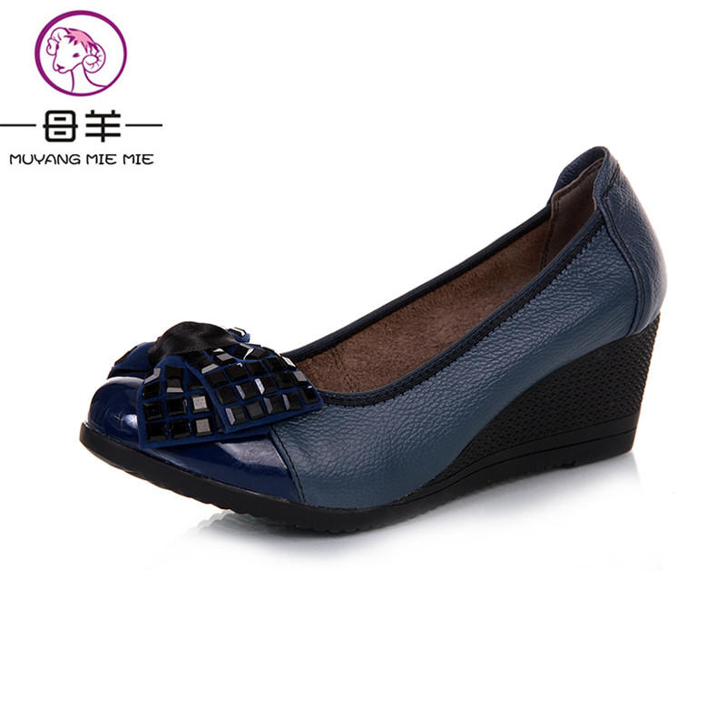 MUYANG Chinese Brands High Heels Women Genuine Leather Wedge Shoes Woman Single Wedges New Fashion Platform Shoes Women Pumps nayiduyun women genuine leather wedge high heel pumps platform creepers round toe slip on casual shoes boots wedge sneakers