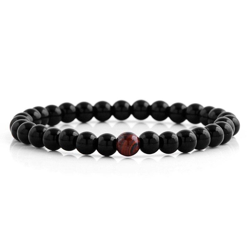 versatile 6mm Black hematite and Tiger Eye stone beaded stretch bracelet mam male elastic semi-precious stone bracelet courage