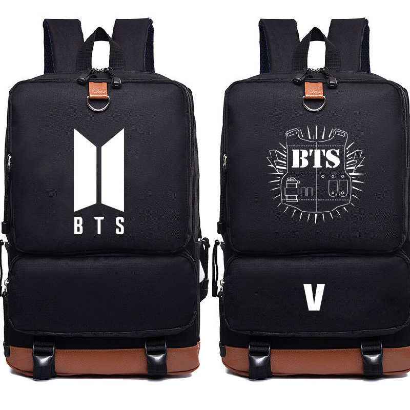 Bangtan Boys Knapsack New Kpop Star Goods Pu Schoolbag Korea Backpack Bangtan Boys Knapsack Travel Rucksack Mochila Escolar With A Long Standing Reputation Luggage & Bags