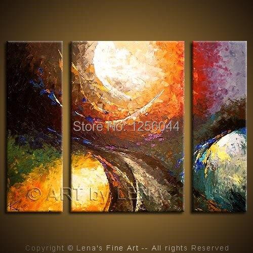 En gros 100% à la main peinture à l'huile moderne mur art beauté salon peintures 3 panneaux mur toile peint à la main C028