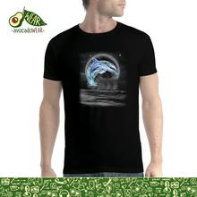 Dolphin Jumps Out Full Moon Men T-shirt XS-5XL NewStreetwear Funny Print Clothing Hip-Tope Mans T-Shirt Tops Tees Solid Color
