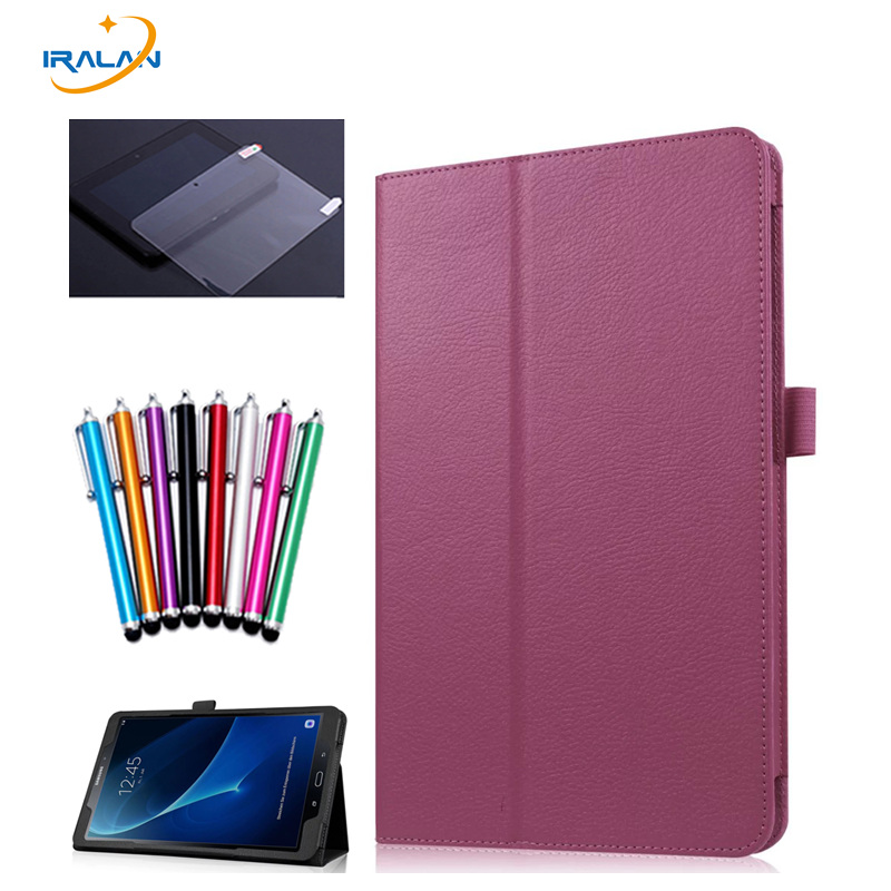 Folding Flip PU Stand Cover for Samsung Galaxy Tab A 10.1 2016 SM-T580 T585 T580N Skin Lichee Style tablet Case + Film + Pen case for samsung galaxy tab a 9 7 t550 inch sm t555 tablet pu leather stand flip sm t550 p550 protective skin cover stylus pen