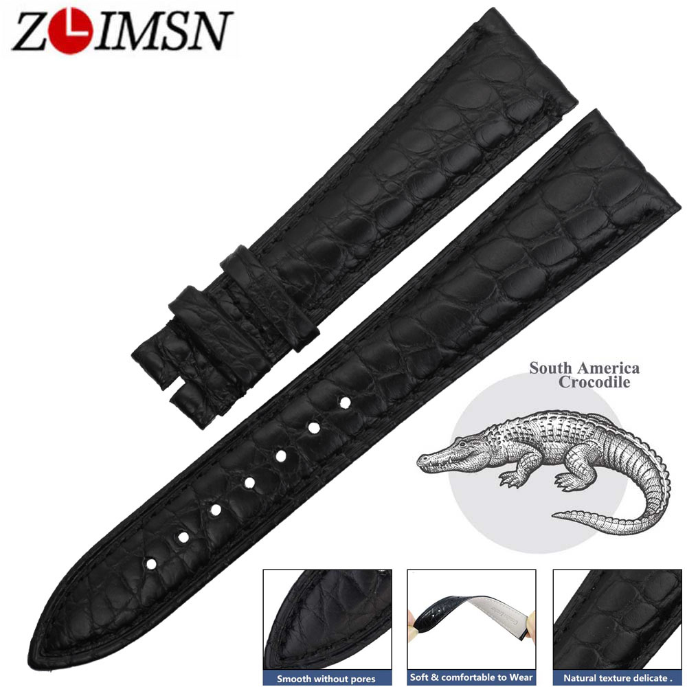 ZLIMSN Men s Clock Watches Genuine Crocodile Leather Watchbands Bracelets 14mm 24mm Suitable For OMEGA Longines