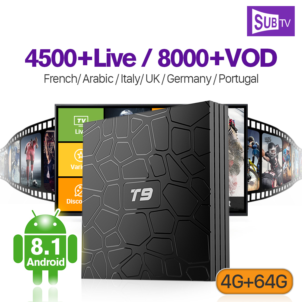 Android 8.1 Set Top Box T9 4G RAM+64G ROM Support BT Dual-Band WiFi IPTV 100M LAN France Arabic SUBTV Full HD Lives Code