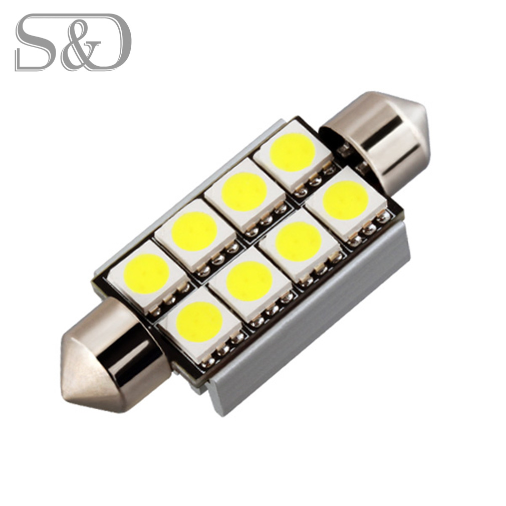 42mm 8 SMD 5050 Dome Festoon CANBUS OBC Error Free Car LED Bulbs Lamp c5w led interior Lights Car Light Source 12V wholesale 10pcs lot canbus t10 5smd 5050 led canbus light w5w led canbus 194 t10 5led smd error free white light car styling
