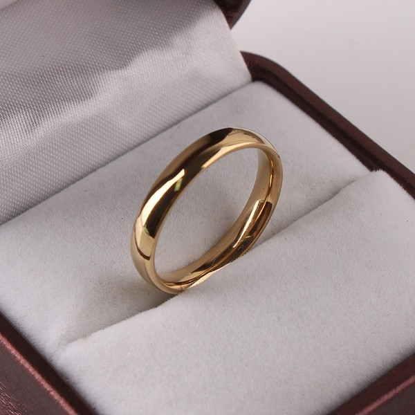 Wholesale Jewelry Lots Fashion 4MM Thin Gold Stainless Steel Rings