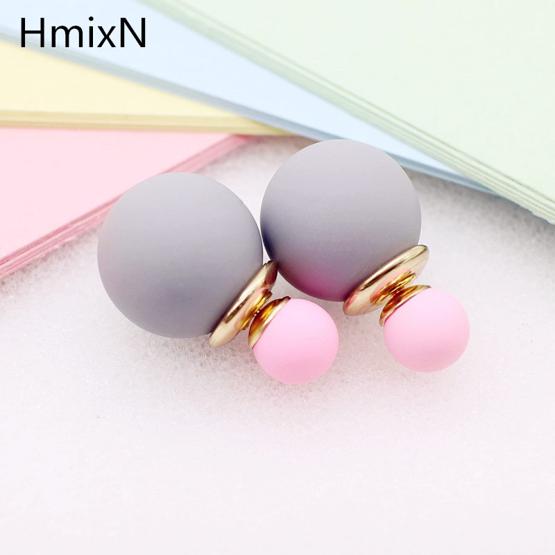 korea simulated Pearl ball Stud Earring Bead Double Side Earring Scrub Dull two Face Way Party