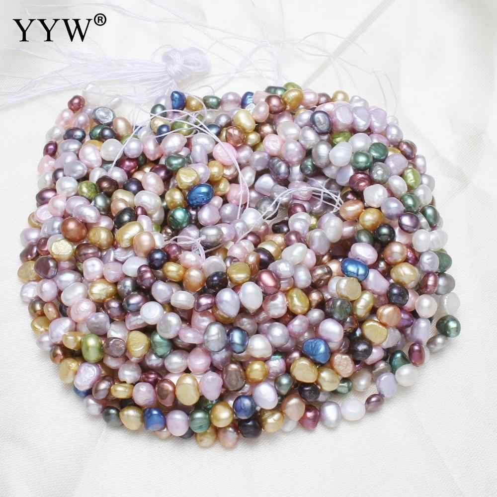 6 ミリメートルナチュラルカラフルなバロックシェイプファッション淡水真珠ビーズネックレス Bracelat ジュエリー作成 Diy 真珠ルースビーズ
