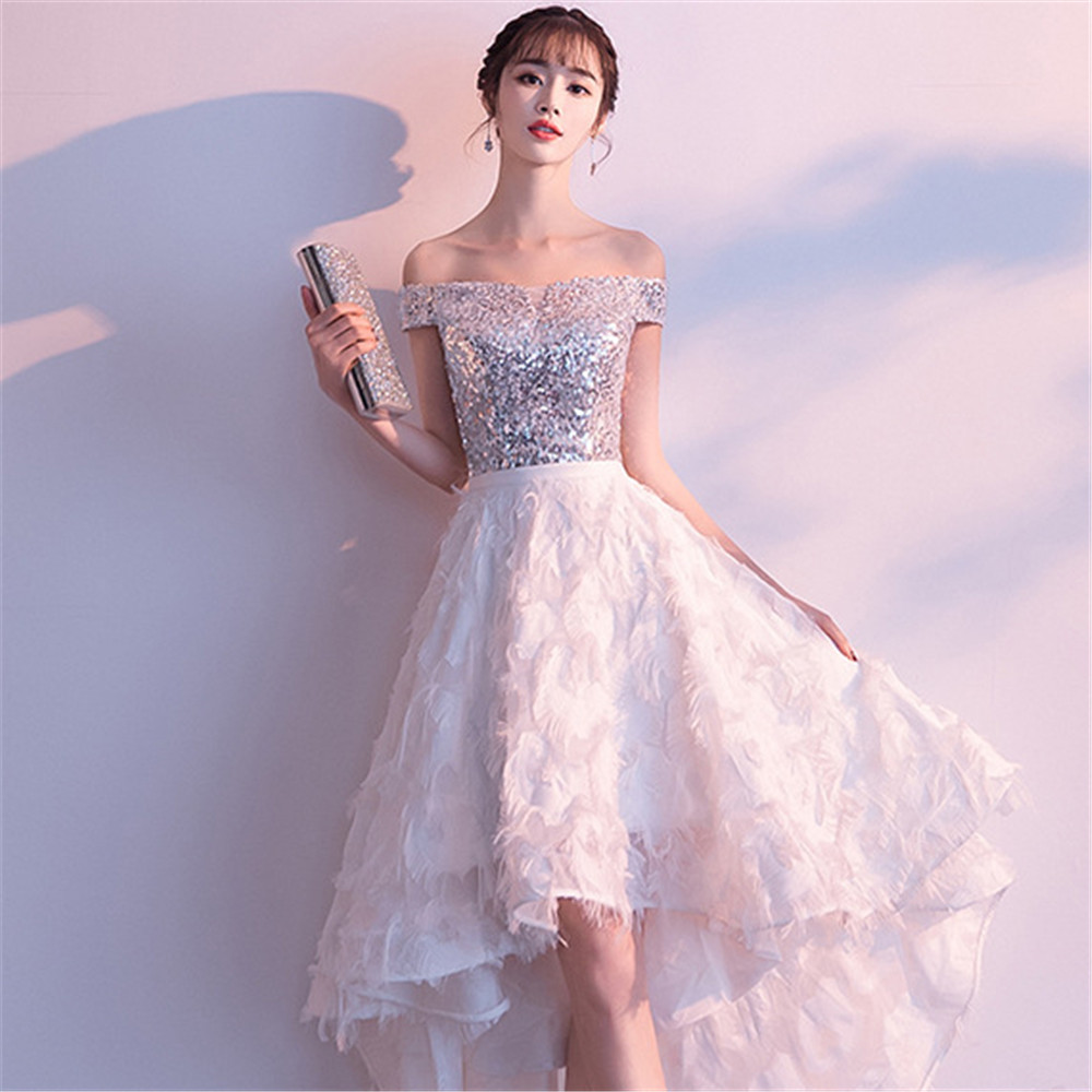 Exquisite Sexy Slash neck Dress Qipao Evening Party Sequins Gown Bridal Wedding Cheongsam Elegant Formal Asmmetrical Vestidos