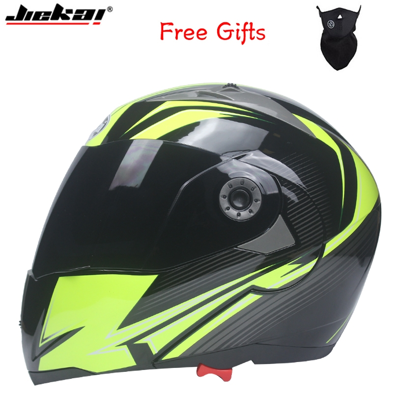 Professional Double Glass Motorcycle Helmet Jiekai Flip Up motorbike Helmet available with internal black sunglass
