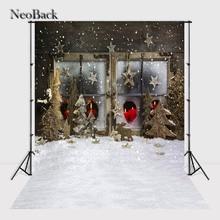 NeoBack  3x5ft 5x7ft Santa Christmas tree star snow vinyl background vintage holiday scene backdrop many sizes A1041