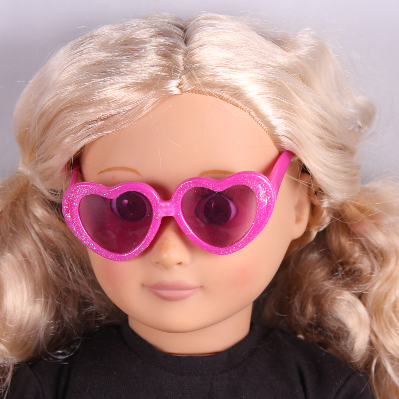 Fashion Hot Pink Heart Doll Sunglass With Glitter Fits 18 American Girl Doll Clothes And Acessories