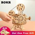 ROKR Vitascope 3D Handheld Projetor de Filme Clássico Decoração Da Casa Modelo de Montagem do Enigma De Madeira Brinquedos para Crianças e Adultos Presentes LK601