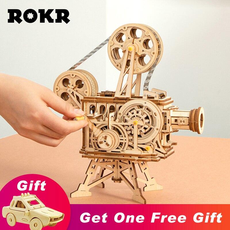 ROKR Vitascope 3D Puzzle en bois portable classique Film projecteur décor à la maison assemblage modèle jouets pour enfants adultes cadeaux LK601