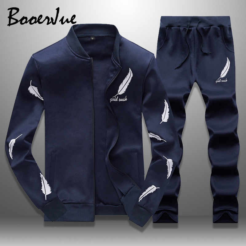 Tracksuit Men Two Pieces Set Mens Sweat Suits Stand Collar Feather Printed New Zipper Hoodie Men's Sportswear Brand Clothing