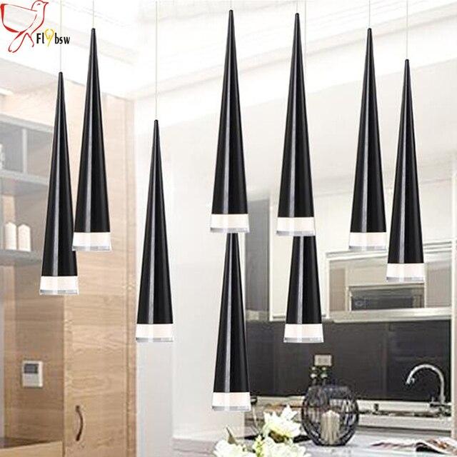 Noir Moderne LED Pendentif Lampes En Aluminium Métal Luminaire Salon  Chambre Déco Restaurant Cuisine Salle À