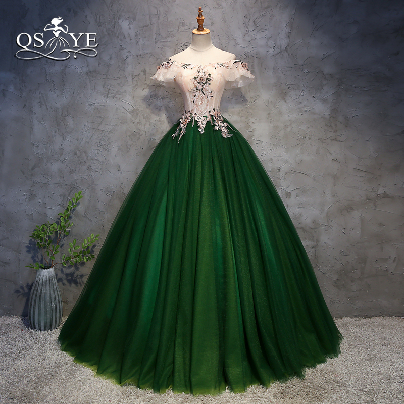 QSYYE 2018 Green Long   Prom     Dresses   Elegant Ball Gown Off Shoulder 3D Flower Floor Length Tulle Formal Evening   Dress   Party Gown