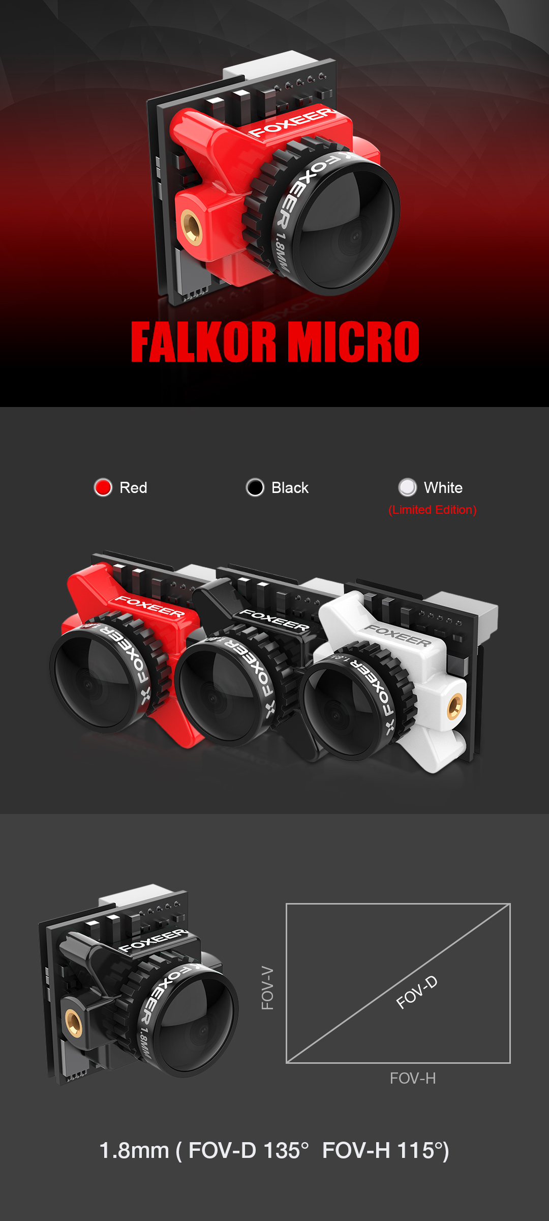 Foxeer Falkor Micro 1200tvl Fpv Camera 18mm Lens Gwdr Osd All Naze32 Wiring Diagram 1manual 1osd Board 1servo Cable To Cleartx Vtx Tbs Unify 12pin 1bracket