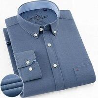 Men Shirt Long Sleeve Regular Fit men Plaid & Striped Shirt Oxford Mens Dress Shirts Blue Casual Camisa Social 5XL 6XL Plus Size