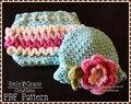 Бесплатная доставка Крючком Цветок Hat и Рюшами Крышка Пеленки Крючком Шаблон новорожденных фотографии реквизит