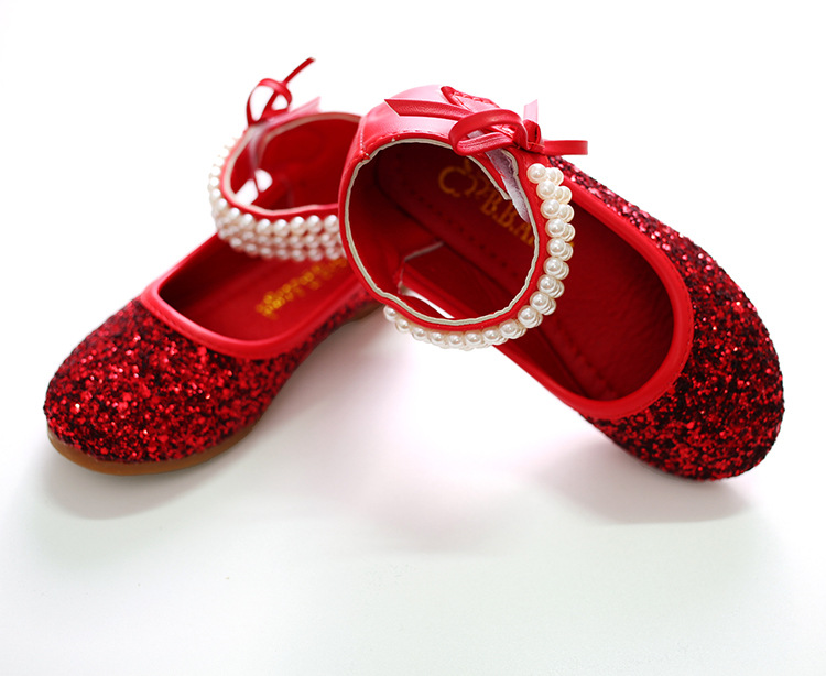 2018 Children Girls dancing Shoes Spring Bowtie Sandals Leather Shoes Princess pearl Sweet Sandals Beaded Shoes For Girls