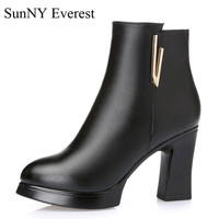 SunNY Everest winter boots woman plush cow leather zipper mid caf heel high 9cm lady boats de mujer black wine red 35 40 us9