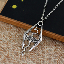 3D RPG Game The Elder Scrolls Necklace Skyrim Hollow Dragon Pendants Cheap Punk Vintage Women And Men Drop Statement Necklaces