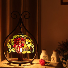 creative classical table lamps rose flower stained glass desk lights for bedroom bedside lamp club and bar LED table lamps E27