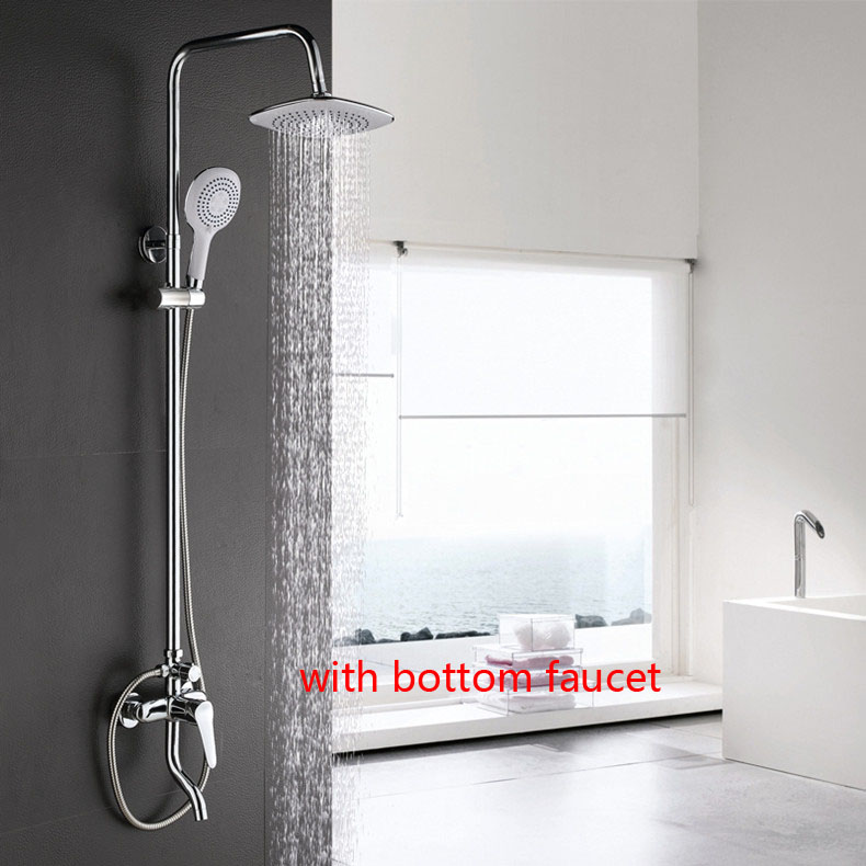 Dofaso Square Rain Shower Set Faucet 8 round faucet with Shower head Wall Mounted Mixer Tap  bath shower with bottom taps new chrome 6 rain shower faucet set valve mixer tap ceiling mounted shower set