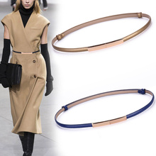 Fashion Skinny Cowhide Belts Adjustable Narrow Thin Belt Gold Buckle Designer Waistband 2019 New Women Dress Strap