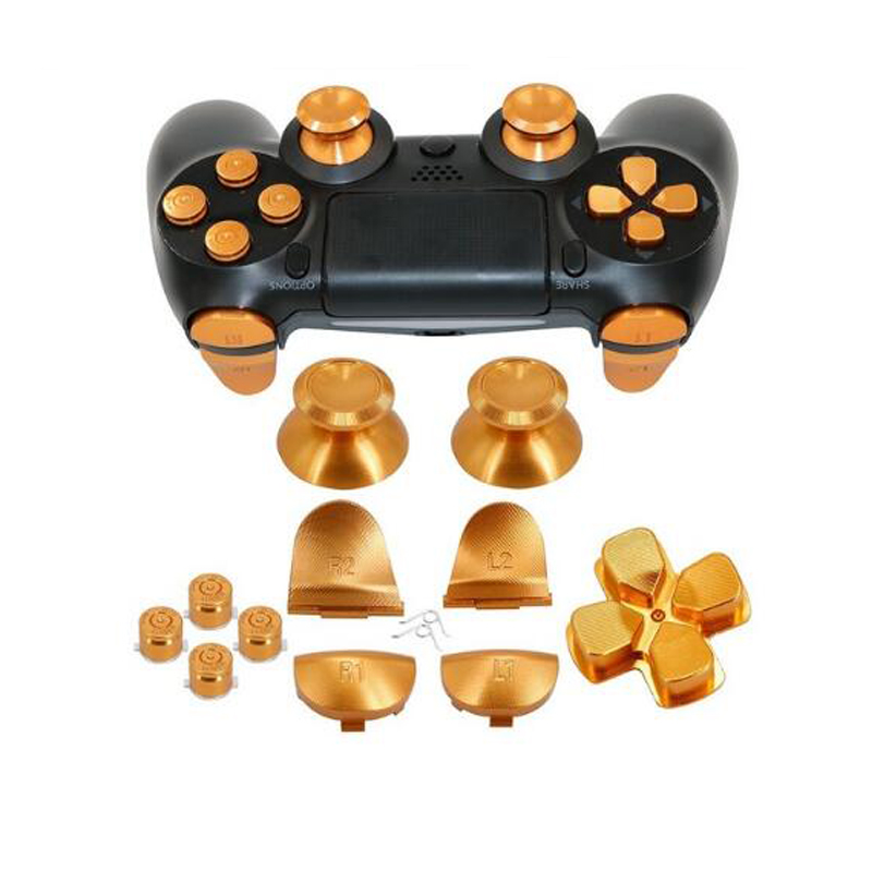 Thumbsticks de metal de aluminio Agarre analógico y botones de bala y D-pad y L1 R1 L2 R2 Disparador para controlador PS4 Gen 1 Botones de metal